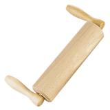 Wellholz Teigrolle, Griffe abgewinkelt, Holz mit Holzachse 23 cm