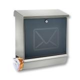 Briefkasten Postkasten mit Zeitungsfach Edelstahl