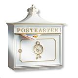 Briefkasten mit Briefhalter Postkasten Aluguss weiß grün bronze
