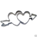 Doppeltes Herz mit Pfeil 6cm Ausstechform Ausstecher Weißblech